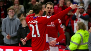 Middlesbrough's Cristhian Stuani celebrates scoring his side's third goal of the game with team mate Middlesbrough's Gaston Ramirez during the Emirates FA Cup, Fifth Round match at the Riverside Stadium, Middlesbrough.