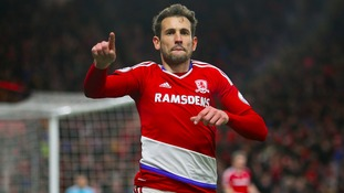 Middlesbrough's Cristhian Stuani celebrates scoring his side's third goal of the game