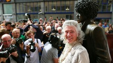 Philomena, mother of Phil Lynott at the unveiling of the repaired statue of the former Thin Lizzy frontman