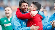 Lincoln City Manager Danny Cowley celebrates after the final whistle of the Emirates FA Cup, Fifth Round match at Turf Moor, Burnley.