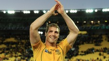 Dan Vickerman celebrating following the 2011 IRB Rugby World Cup quarter final between Australia and South Africa at Wellington