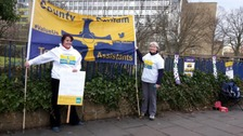 Teaching Assistants hold vigil at Durham County Hall
