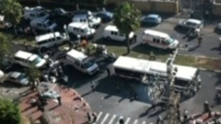 Scene in Tel Aviv following reports of bus explosion
