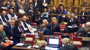 Theresa May sits behind the speaker (top right) as the House of Lords debate begins