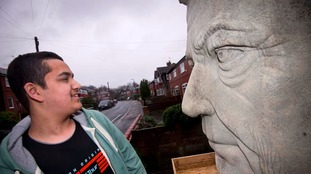 Zohaib with his sculpture of Jeremy Clarkson.