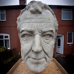 The giant sculpture of Clarkson dominates the front garden.