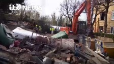 Human remains were found amongst the rubble after 5 days
