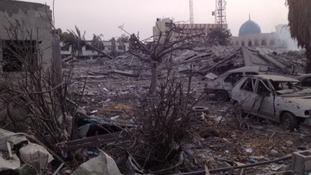 Damage at Government office compound in Gaza destroyed by Israeli bombardment last night