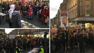 Anti-Trump protestors in Newcastle
