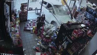 Dramatic video shows car crashing into shop and hitting customer