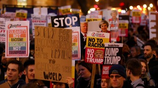 Hundreds protest outside Parliament over Trumps' visit.