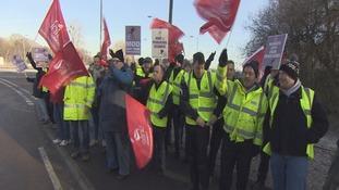 AWE workers on strike