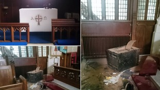 Thieves break into church and throw safe from balcony to break it open