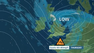 Low pressure over the UK on Thursday now named STORM DORIS by the Met Office