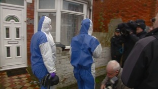 Forensic officers arrive at Christopher Halliwell's former home in Swindon.