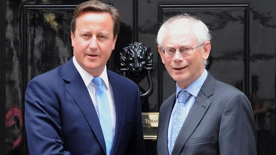 EU budget: David Cameron greeting the President of the European Council, Herman Van Rompuy, outside Downing Street last year