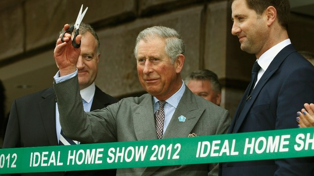 The Prince of Wales (centre) prepares to officially open the Ideal Home Show, Earls Court, London on March 16th 2012.