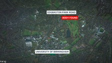 A man's body was discovered in a lake near Birmingham University
