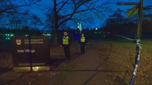 There's a police presence at the University of Birmingham tonight