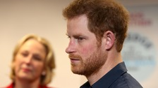 Prince Harry listens to Jayne-Anne Gadhia open up about her battle with depression.