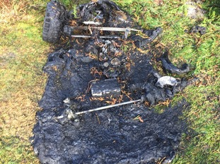 Burnt out electric toy car