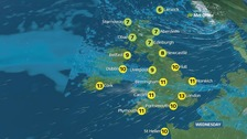 Weather: Cloudy and mild with showers