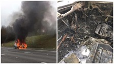 Woman escapes burning car after collision with lorry on motorway