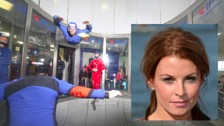 Coleen Rooney flying high in indoor skydiving session