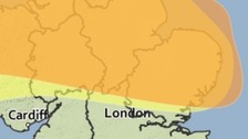Areas covered by yellow and amber weather warnings for strong winds on Thursday.