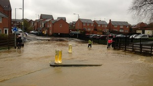 Flooding in Gainsborough Road, Corby