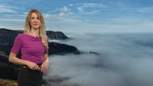 Cloudy with drizzle at times and hill fog patches, especially overnight