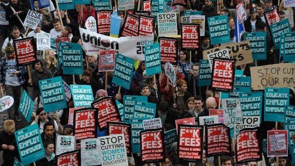 Thousands of students marched through central London to protest at Government cuts and changes to higher education