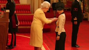 Mrs Anna Kennedy from Uxbridge is made an OBE by Queen Elizabeth II at Buckingham Palace.