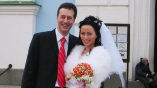 Barry Pring with his wife on his wedding day