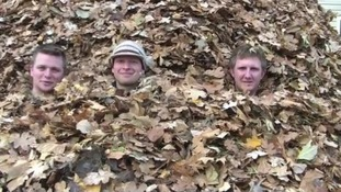 Buried in leaves, the men explain the stunt