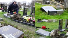 Damaged headstones in Hebburn