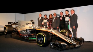 Esteban got a new motor? Esteban Ocon and Sergio Perez at the unveiling.
