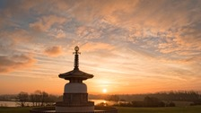 A beautiful sunrise at Willen lake Peace pagoda, Milton Keynes