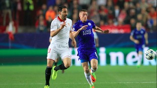 Leicester go a goal down in the first half in the first leg of their tie with Sevilla.