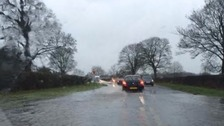 Flooded roads around Skipton during previous bad weather.