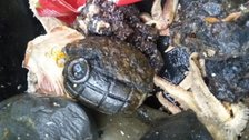 One of the grenades found on a fishing boat