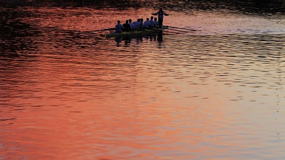 The Aberdeen Rowing Club on the river before the sun goes down