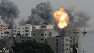 Smoke and an explosion seen during Israeli air strikes in Gaza