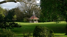 The Cabman shelter in Christchurch Park.   All parks in Ipswich are closed because of Storm Doris