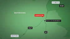The A1 Great North Road has been blocked in both directions by a fallen tree at Chawston.