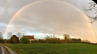 Double rainbow over Chediston, Suffolk