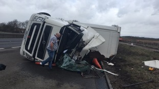 A lorry was blown over on the A1 at Brampton Hut in Cambridgeshire.