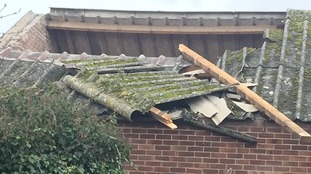The roof has been peeled off the baptist church at Gorleston by high winds