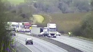 The lorry blown over on the M11