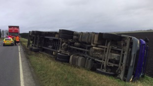 This was the scene on the A141 near Chatteris after a lorry blew over